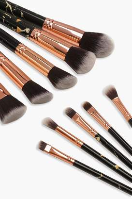 boohoo 10 Piece Gold And Black Marble Brush Set