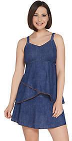Denim & Co. Beach Denim Print Tankini Swimsuit