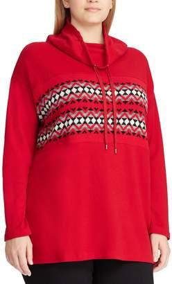 Chaps Plus Size Holiday Print Cowlneck Sweatshirt