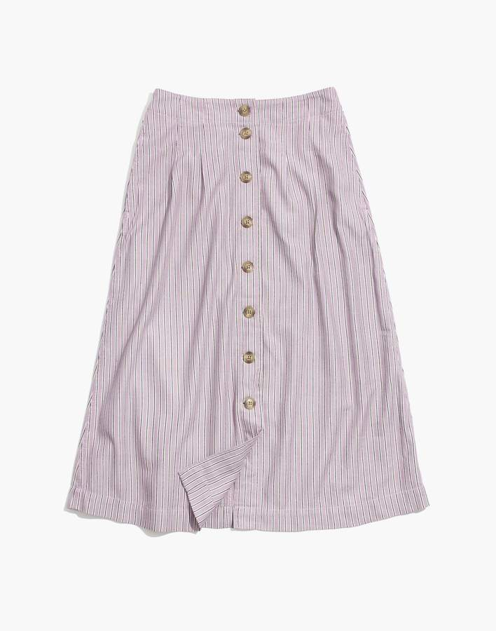 Madewell Patio Button-Front Midi Skirt in Lilac Stripe
