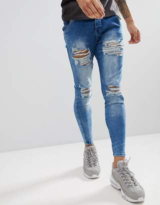 SikSilk Muscle Fit Jeans In Acid Blue With Distressing
