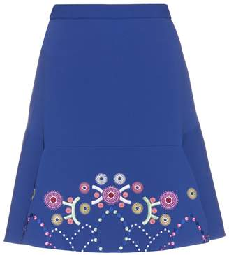 Peter Pilotto Geometric-embroidered fluted cady mini skirt