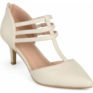 Brinley Co. Womens T-strap Pointed Toe Matte Dress High Heels
