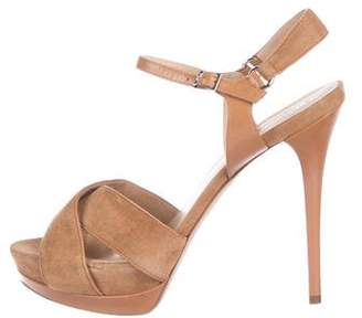 Longchamp Suede Strap Platform Sandals