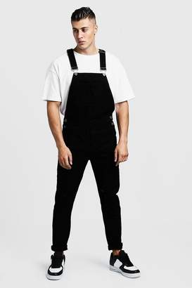 boohoo Slim Fit Distressed Denim Overalls