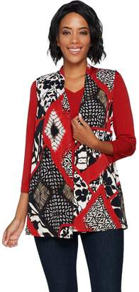 Susan Graver Printed Liquid Knit Vest Set with Back Buttons