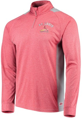 Stitches Men's Heathered Red/Gray St. Louis Cardinals Raglan Sleeve Quarter-Zip Pullover Jacket
