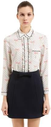 Miu Miu Bows Printed Crepe De Chine Silk Shirt