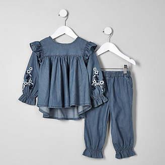 River Island Mini girls blue denim swing top outfit