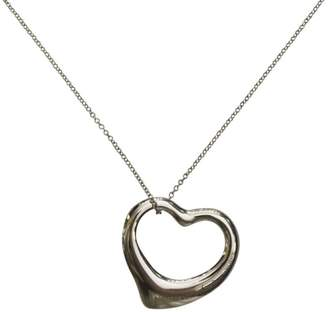 Tiffany & Co. Sterling Silver Elsa Peretti Open Heart Pendant Black Silk Cord and Chain Necklace