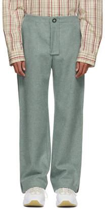 Acne Studios Blue Wool Pleats Trousers