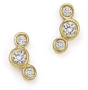 Chicco Zoë 14K Yellow Gold Small Triple Graduated Diamond Curved Bezel Stud Earrings