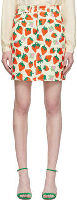 Gucci Off-White Denim Strawberry Miniskirt