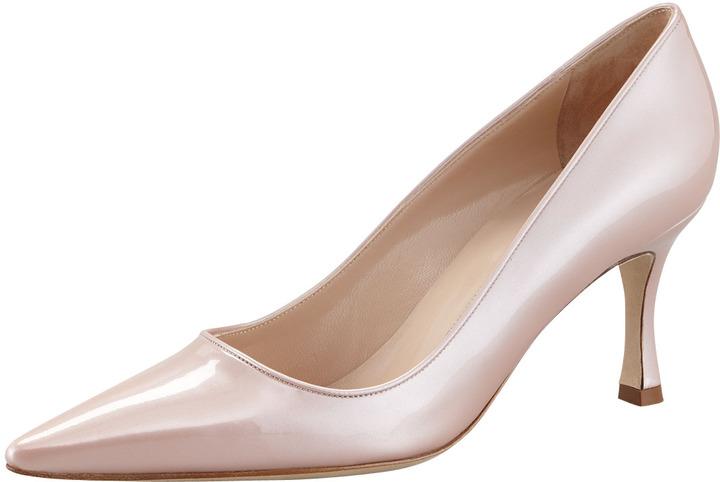 Manolo Blahnik Newcio Patent Leather Pointed Toe Pump, Pink
