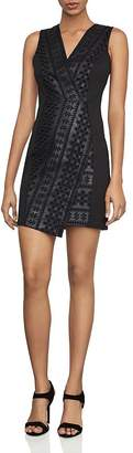 BCBGMAXAZRIA Embroidered Faux Leather & Ponte Sheath Dress