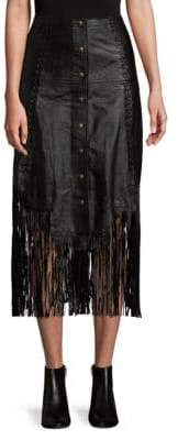 Haute Hippie Fringe Leather Skirt