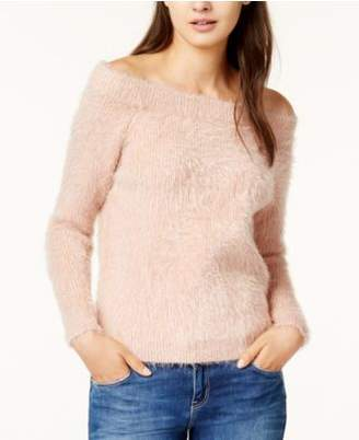 MinkPink Florentine Off-The-Shoulder Eyelash Sweater