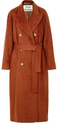 Acne Studios Belted Mohair-blend Coat - Brick