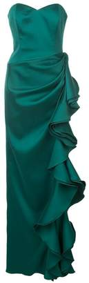 Badgley Mischka strapless ruffled gown