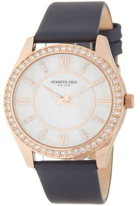 Kenneth Cole New York Women's Crystal Embellished Leather Strap Watch, 40mm