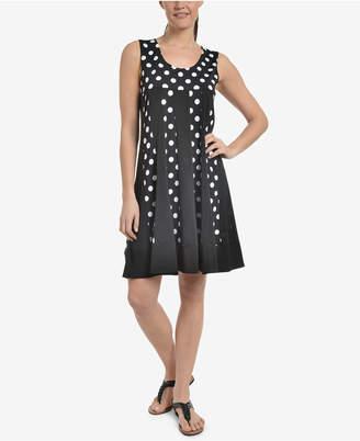 NY Collection Colorblocked Sheer-Hem Dress