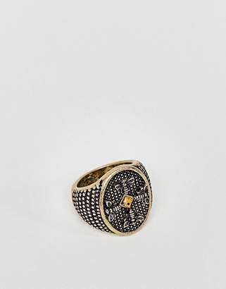 Asos Chunky Embossed Signet Ring With Stone In Burnished Gold