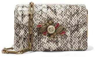 Gucci Broadway Embellished Watersnake Shoulder Bag - Snake print