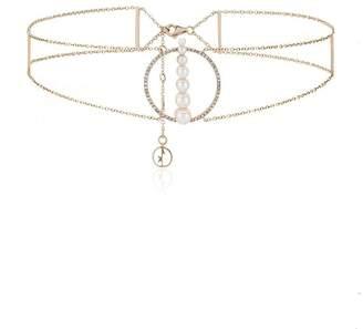 Anissa Kermiche Corne de gazelle dore blanc pearl diamond choker