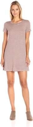 Blu Pepper Women's Knit Stripe Pattern Short Sleeve Dress