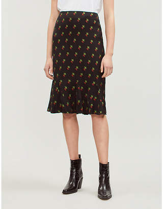 KITRI Lois cherry-pattern crepe skirt