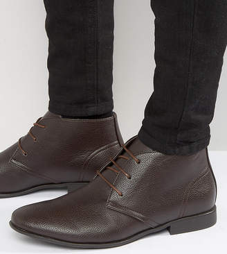 Asos DESIGN Wide Fit Chukka Boots In Brown Faux Leather