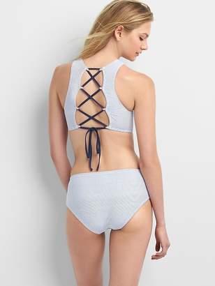 Gap Stripe High-Neck Criss-Cross Bikini Top