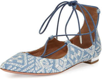 Aquazzura Christy Embroidered Denim Flat, Light Blue