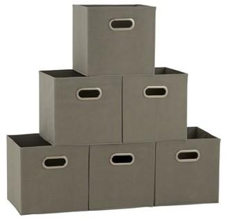 Household Essentials household-essentials Open Fabric Storage Cube Bins, Set of 6, Teafog