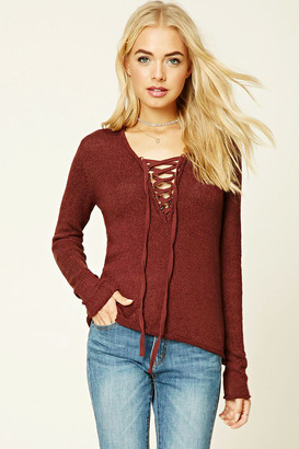 FOREVER 21+ Lace-Up Front Sweater $19.90 thestylecure.com