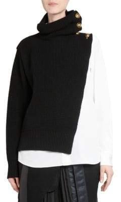 Sacai Wool Shirting Turtleneck Sweater
