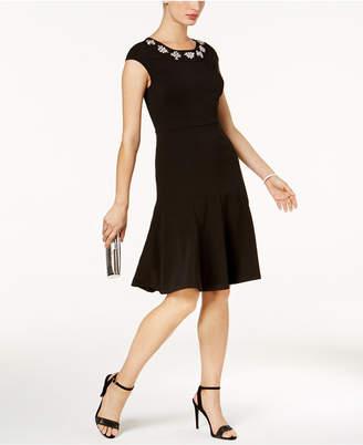 Jax Embellished-Neck Fit & Flare Dress