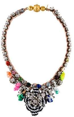 Shourouk Crystal & Sequin Fabric Collar Necklace