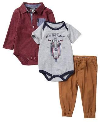 Ben Sherman Long Sleeve Bodysuit, Short Sleeve Bodysuit, & Joggers Set (Baby Boys)