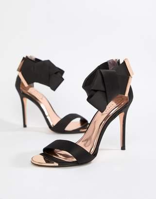 Ted Baker Black Satin Bow Detail Heeled Sandals
