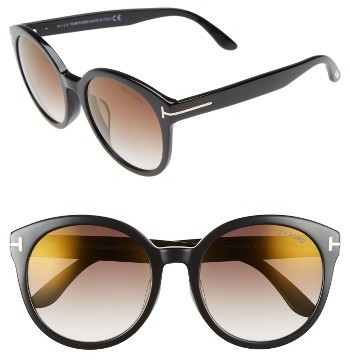 Women's Tom Ford Philippa Special Fit 55Mm Sunglasses - Black/ Gradient Brown Flash