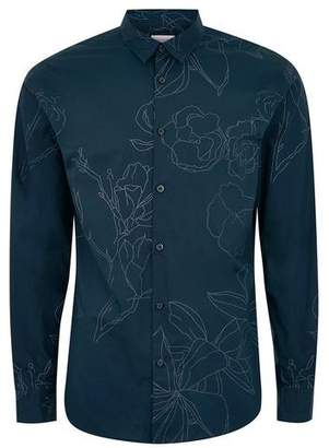 Topman Mens SELECTED HOMME Black Long Sleeve Floral Shirt