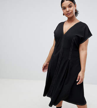 Asos DESIGN Curve fit and flare midi dress with contrast stitching