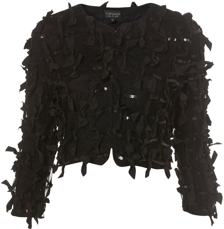 Grosgrain Bow And Sequin Cropped Jacket