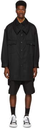 Miharayasuhiro Black Wool Work Shirt