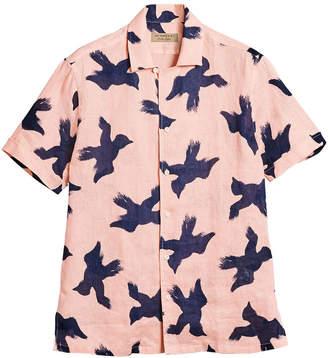 Burberry Short-sleeve Bird Print Linen Shirt