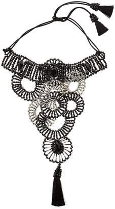 Circle Bib Beaded Tassel Choker Necklace