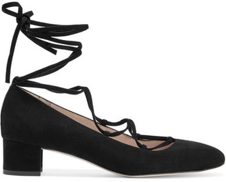 J.Crew - Evelyn Lace-up Suede Pumps - Black $330 thestylecure.com