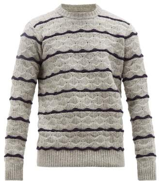 President's Stripe Jacquard Wave Knit Wool Sweater - Mens - Grey