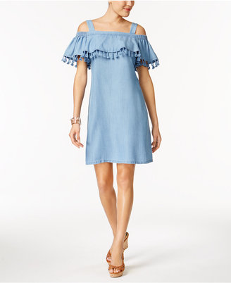 Thalia Sodi Chambray Tassel Ruffle Shift Dress, Only at Macy's $89.50 thestylecure.com
